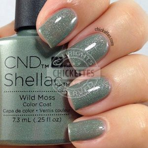 shellac shimmering moss green
