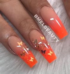 orange fade butterfly gold