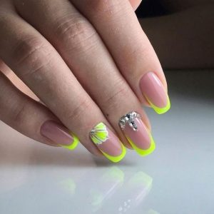 yellow neon french gel tip