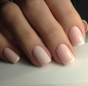 neutral glitter french tip
