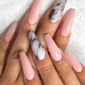 white marble accent nude pink