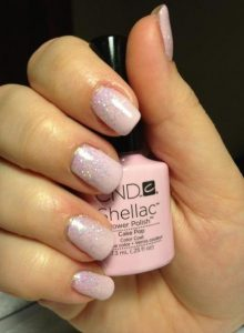 shellac pink glitter ombre