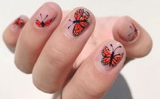 butterfly on short nails