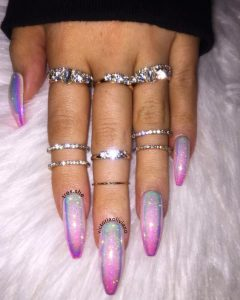 ombre iridescent striping