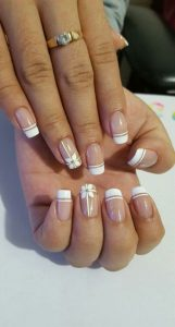 flower white french tip