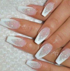 white tips glitter acrylics