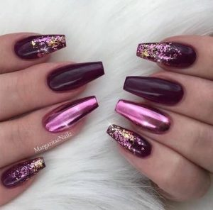 edgy pink chrome coffin
