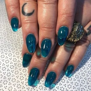 almond turquoise jelly nails