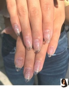 rounded clear acrylic shimmer