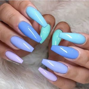blue tone rainbow nails coffin