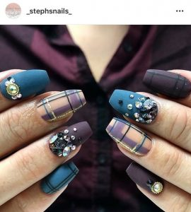 teal purple plaid embellishing