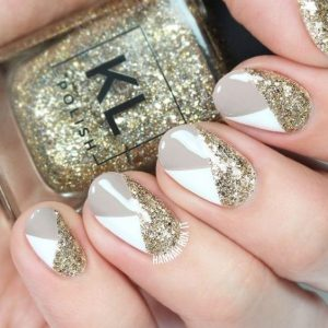 grey white glitter triangle