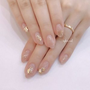 kawaii clear nails with embellishments