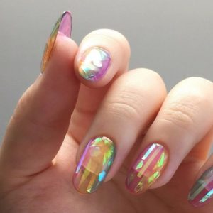holographic finish jelly nails