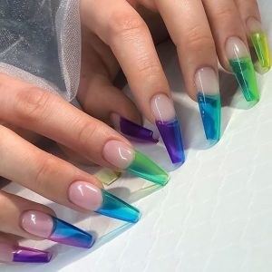 rainbow french jelly tips
