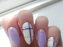 plaid pastel purple gold