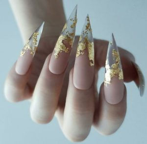 stiletto sharp gold nude clear