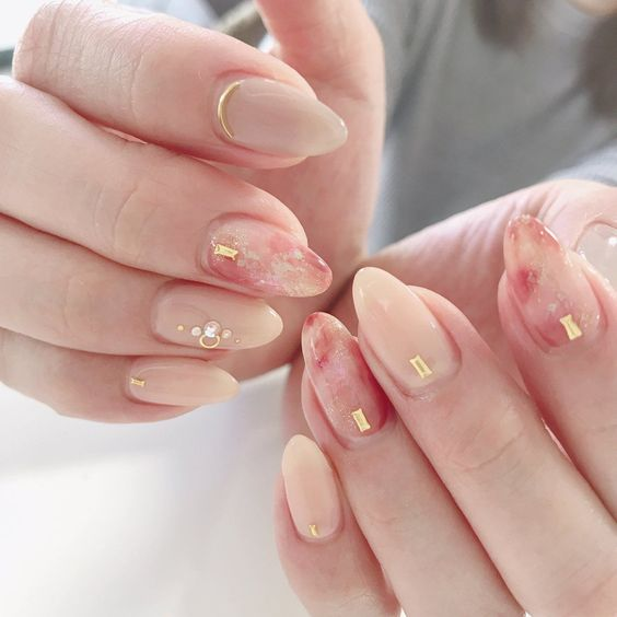 kawaii marbling nude color