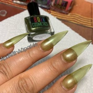 shimmer green jelly nail