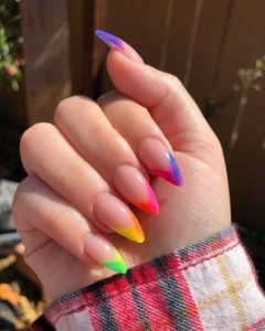 rainbow stiletto ends