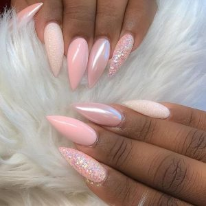 stiletto pastel pink chrome nails