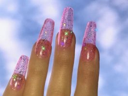light pink glitz jelly nail