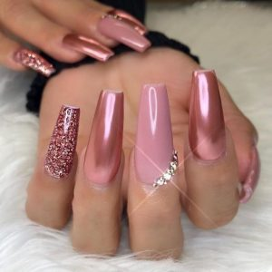 light pink chrome glitter rhinestone