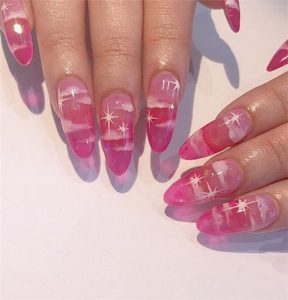 clouds on pink jelly nail