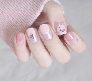 pig korean art nails