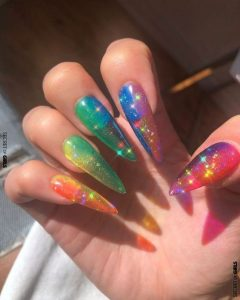 stiletto rainbow ombre jelly