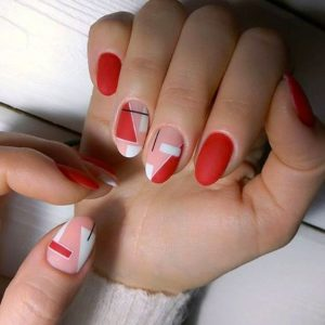 bright red geometric design