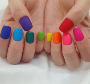 rainbow on short nails