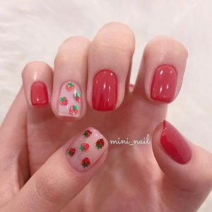 korean strawberries nail
