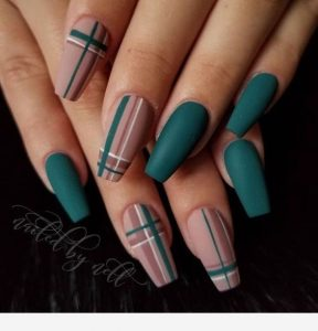 green teal nude plaid