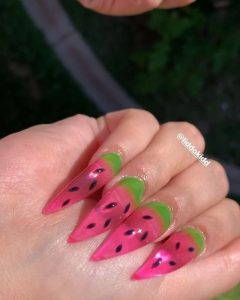 summer melon jelly nail