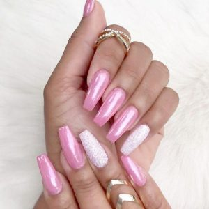 pink chrome white accent nail