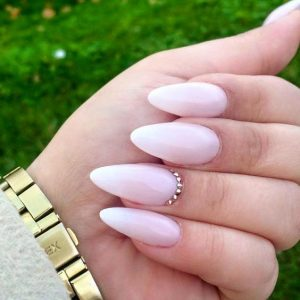 rhinestone milky white nails
