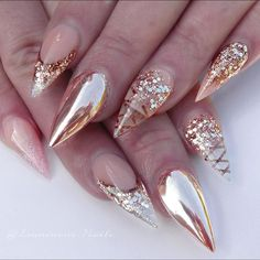 clear acrylics rose gold