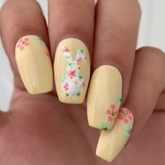 bunny flowers yellow nails