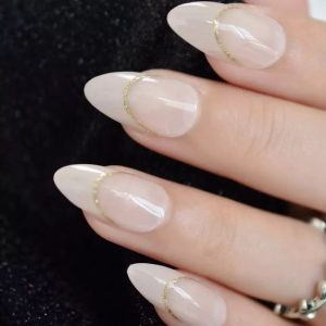 rounded french tip milk white