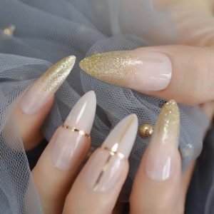 stiletto milk white gold accent