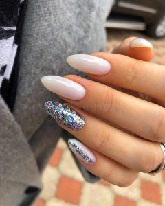 stiletto glitter milk white