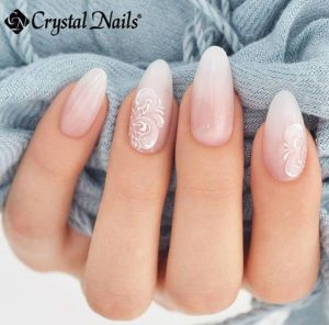 milk white design almond nails