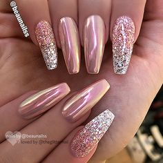 rose gold chrome pink ombre