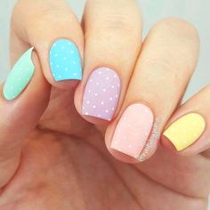 dotted rainbow easter nail