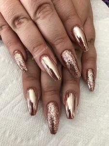 glitter chrome rose gold mix