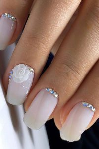 milk white blue rhinestone rose