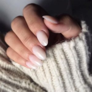 milk white simple nails