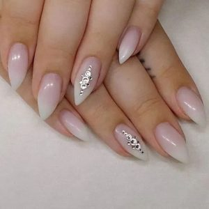 milky white rhinestone stiletto