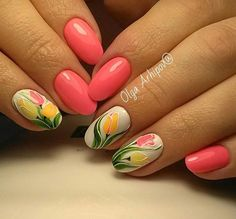 pink tulip nails easter